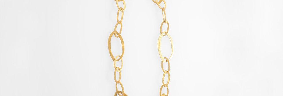 Brushed Gold Plated Irregular Ovals Necklace