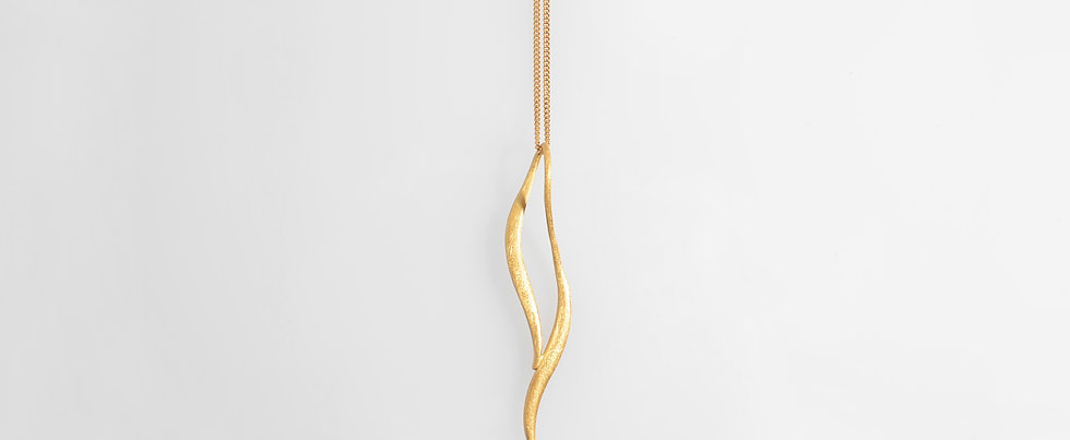 Brushed Gold Plated Pendant Geometric Design on Chain