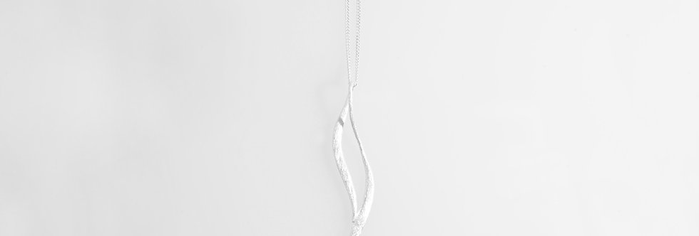 Brushed Silver Pendant Geometric Design on Chain