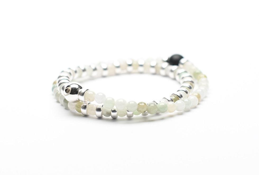 Jade & Black Agate Double Wrap Silver Bracelet