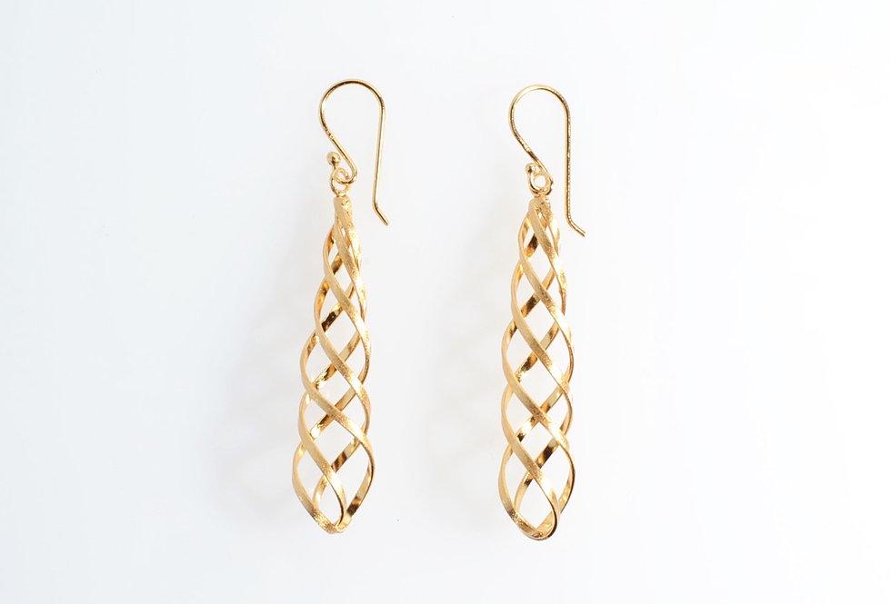 Gold Spiral Cone Dangle Earrings