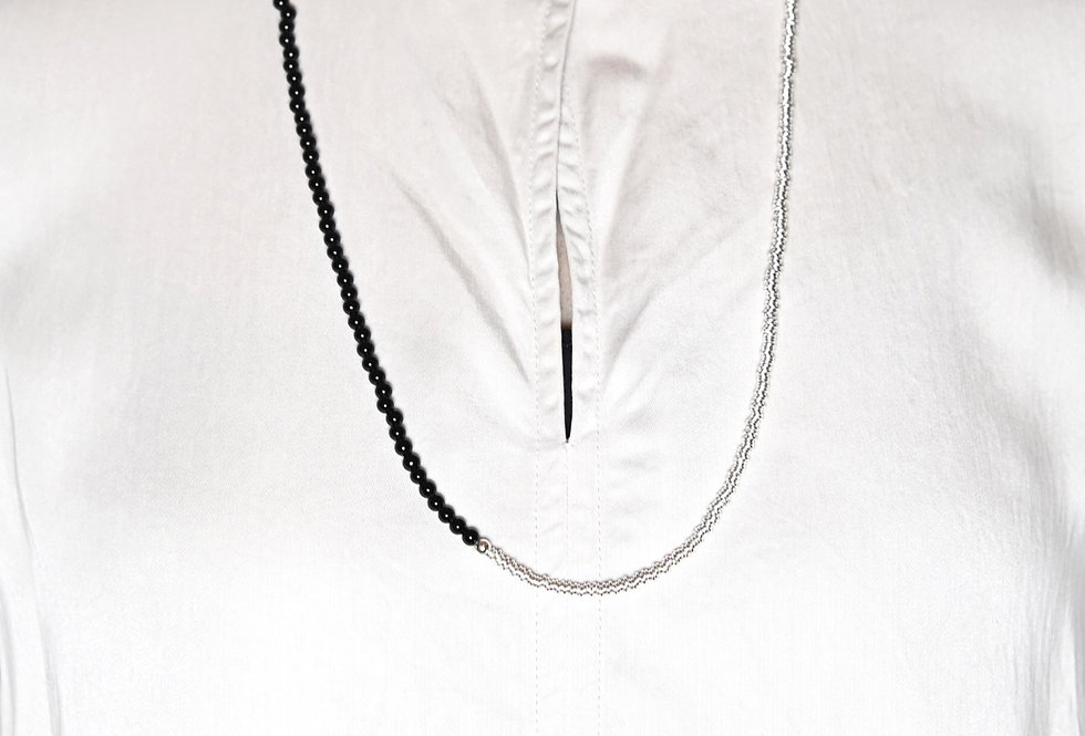 Onyx (4mm) & Silver Two-Tone Medium Long Necklace