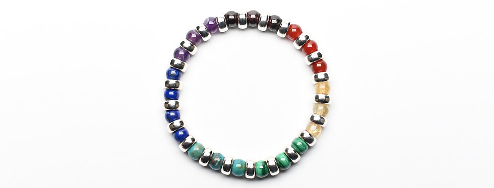 7 Chakras COLOR WHEEL (6mm) | Gemstones Silver Donuts Balancing Bracelet
