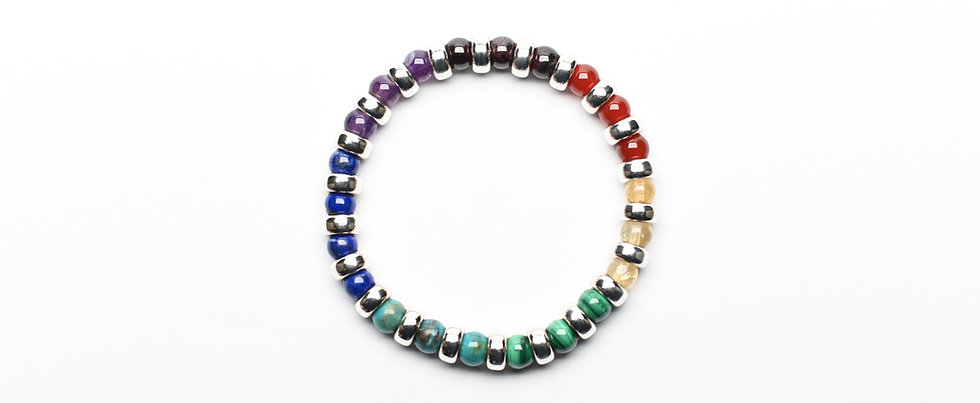 7 Chakras COLOR WHEEL (6mm) | Gemstones Silver Donuts Balancing Bracelet