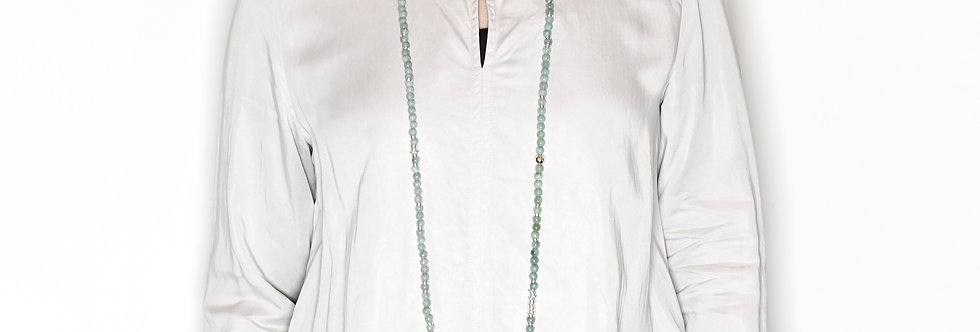 """Jade (6mm) & Silver Beaded Long Necklace 45"""""""