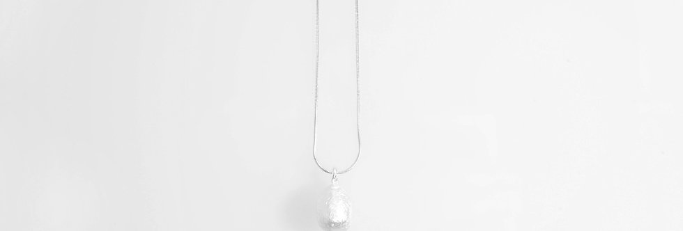 Brushed Silver Water Drop Pendant on Chain