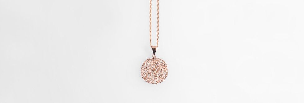 Brushed Rose Gold Plated Nest Pendant on Chain