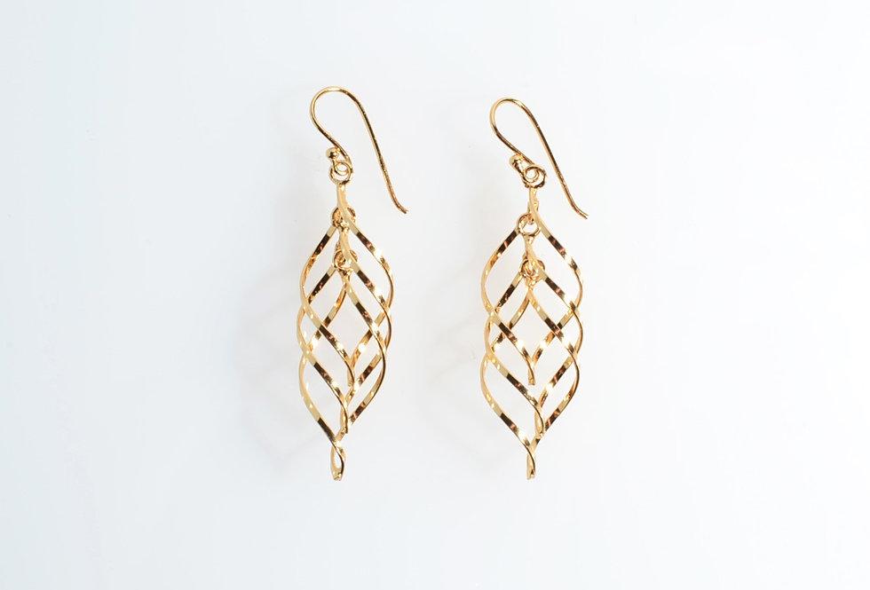 Gold Ornament Design Dangle Earrings