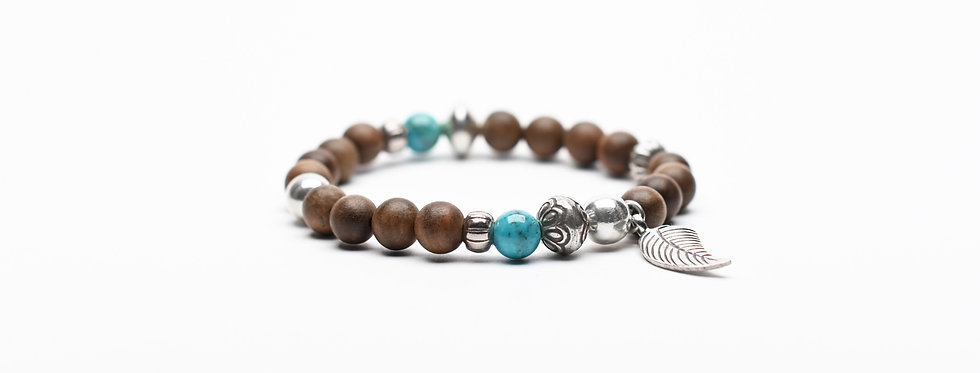 natural wood turquoise silver bracelet