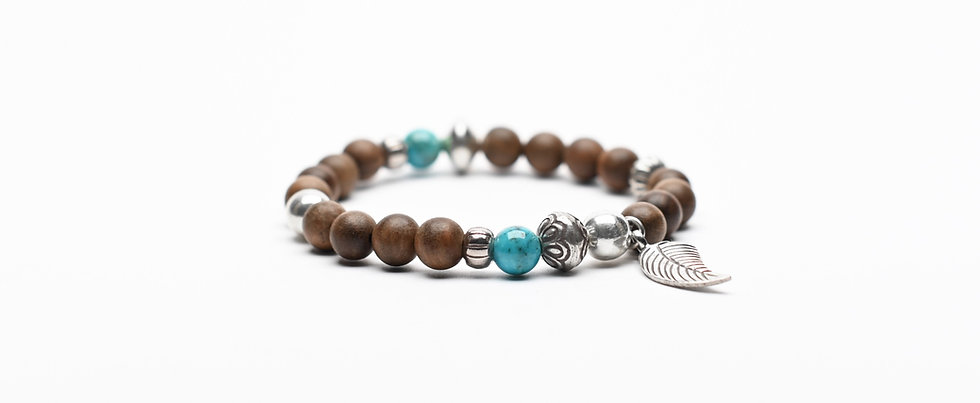 Natural Oak Wood and Turquoise Silver Beads Bracelet