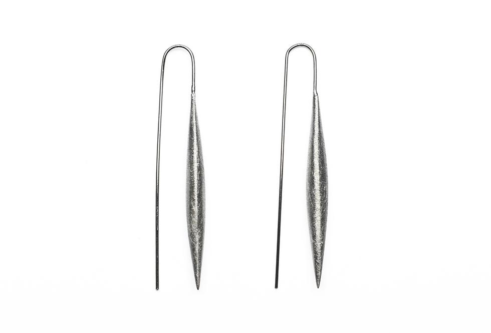 Black Rhodium Brushed Slim Oval Earrings