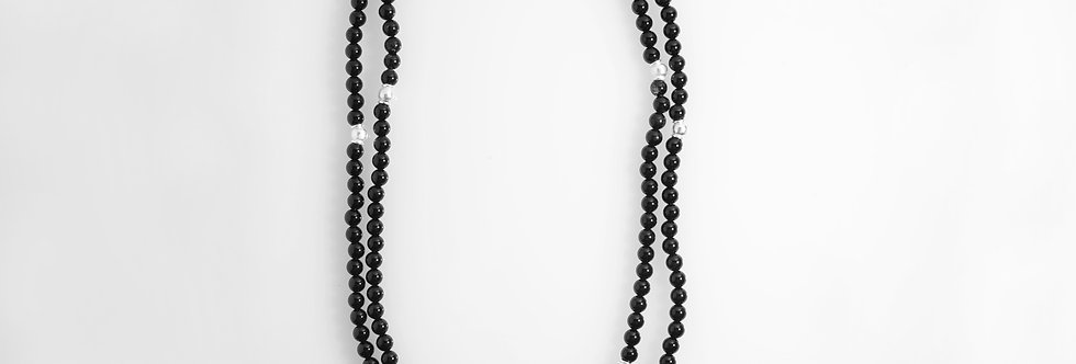 Silver Onyx Long Necklace