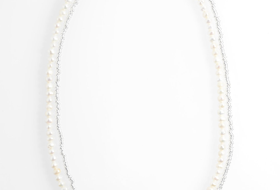 White Pearls (4mm) & Silver Two-Tone Medium Long Necklace 34""