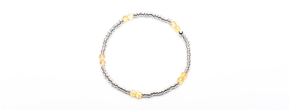 Citrine Twins Silver Bracelet