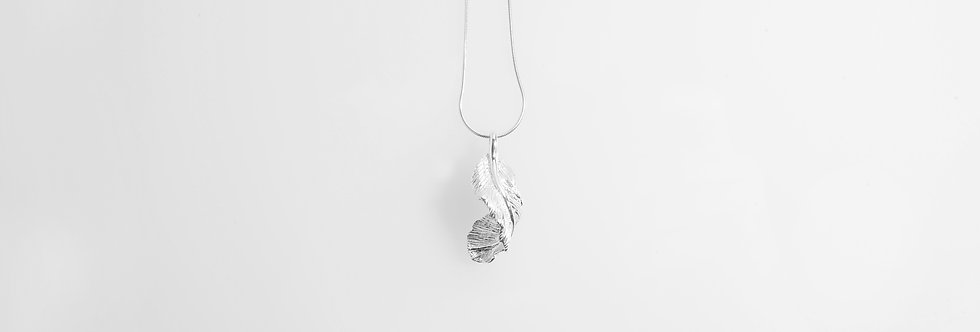 Silver Twisted Feather Pendant on Chain