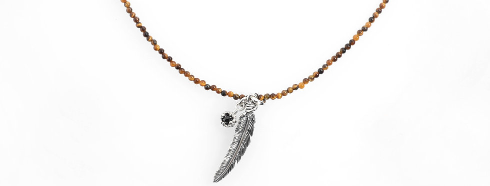 Silver Feather and Onyx Pendent on Tiger Eyes Beaded Necklace