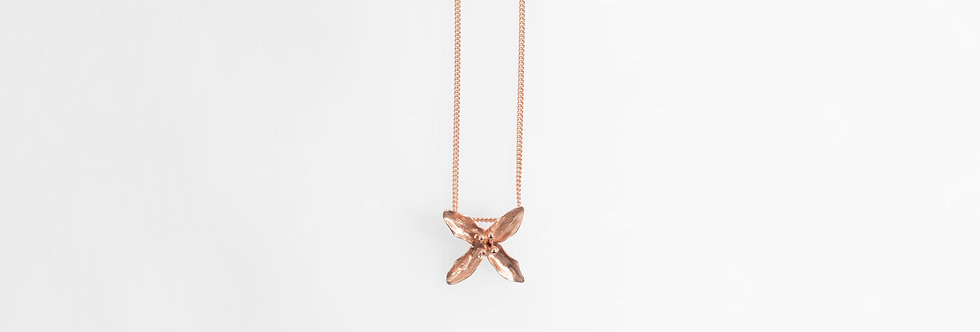Brushed Rose Gold Plated Lily Pendant on Chain