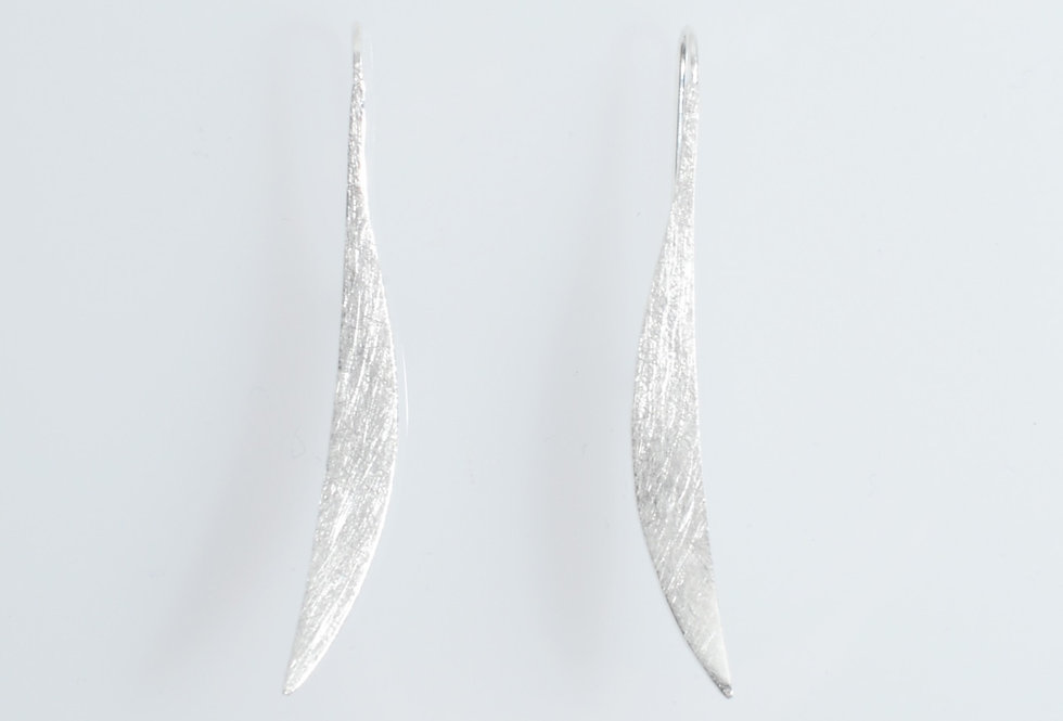 Silver Brushed Curve Earrings