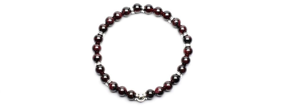 Garnet Silver Grounding Bracelet