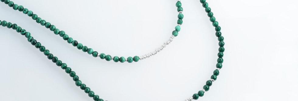 Malachite Random Long Silver Necklace