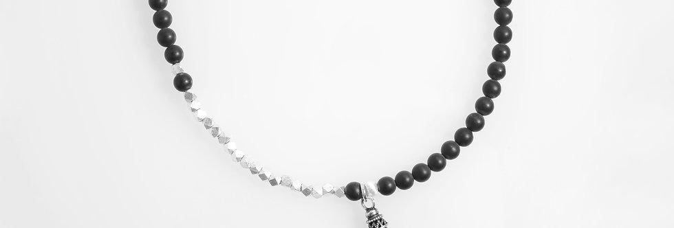 Silver Beads Onyx Medium Long Necklace