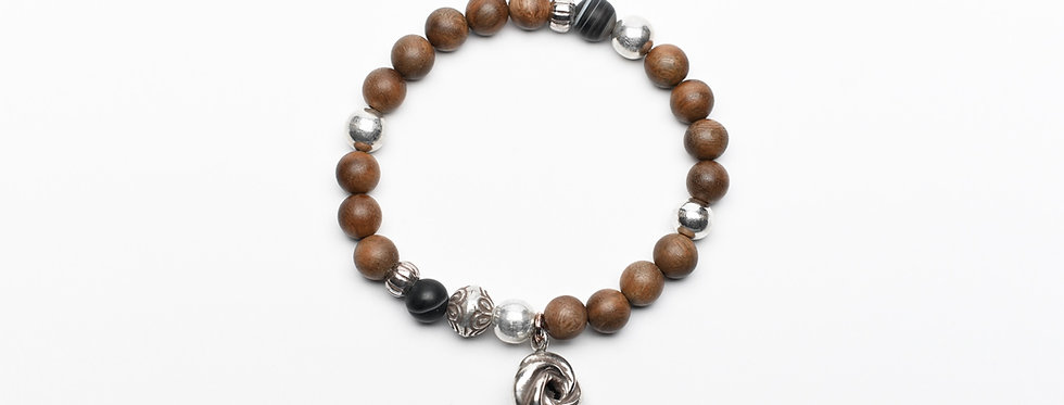 natural wood onyx silver beads bracelet