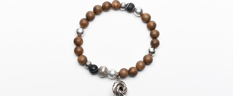 Natural Oak Wood and Onyx Silver Beads Bracelet