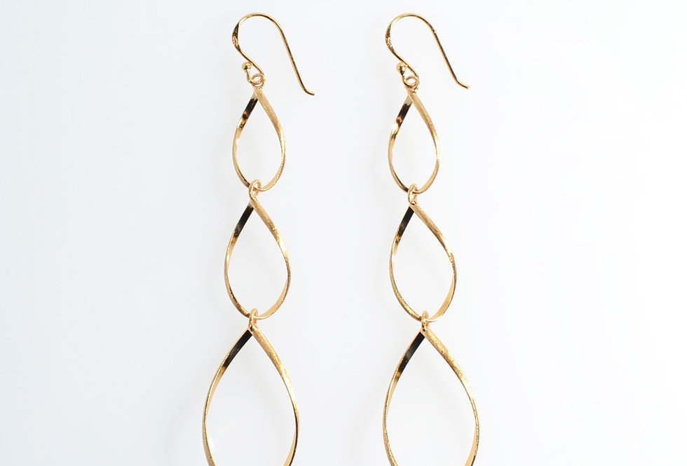 Gold Hanging Earrings Three Water Drops Design