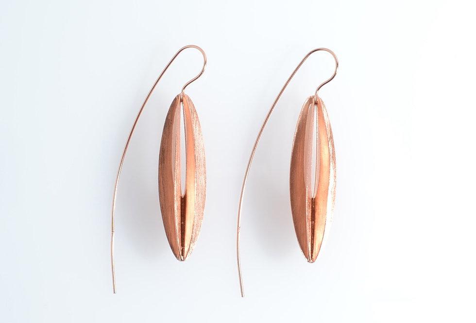 Rose Gold Hanging Lantern Earrings