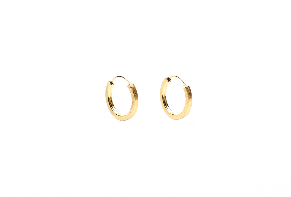 Gold Brushed Mini Hoops Earrings     15mm