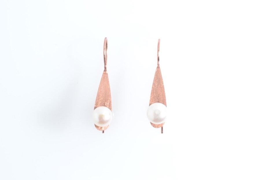 White Pearl on Rose Gold leaf Earrings