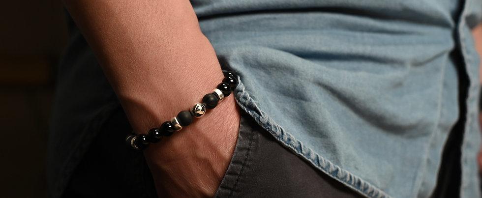 Onyx Polished & Matt (8mm) Mixed Silver Bracelet