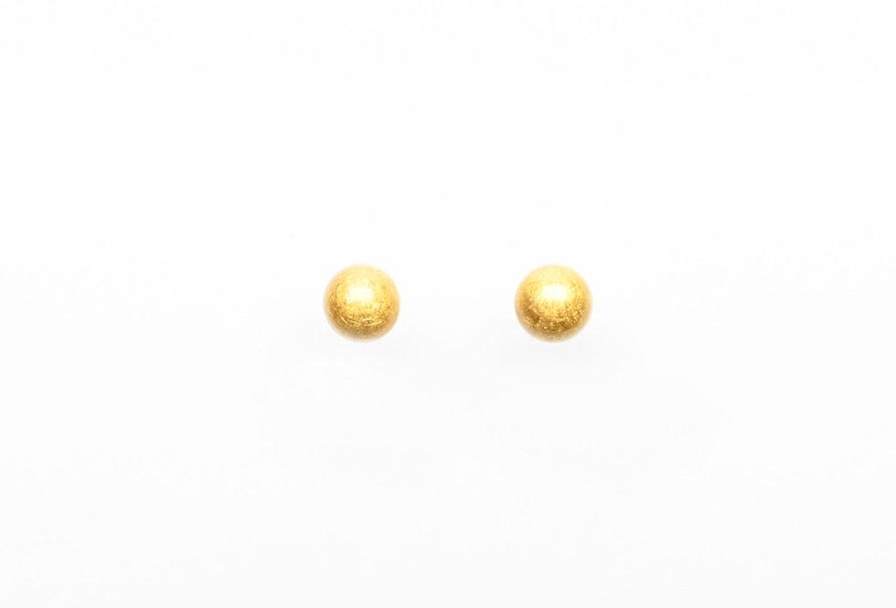 GOLD BRUSHED BALL EARRINGS 8MM