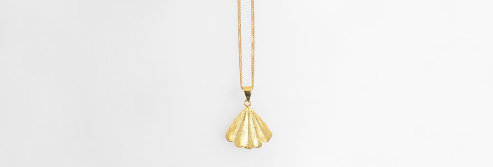 Brushed Gold Plated Shell Pendant on Chain
