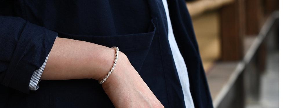 Akoya Pearl Silver Donuts Bracelet