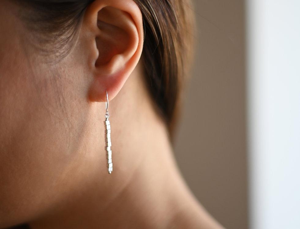 Silver cubes beaded earrings