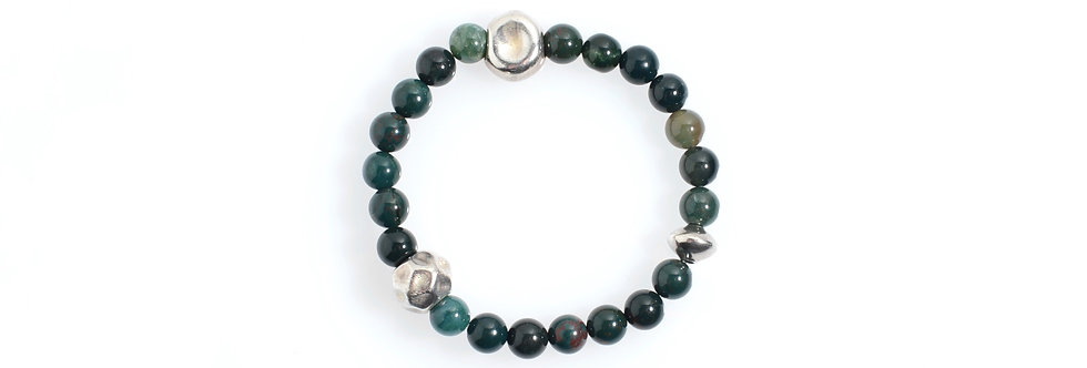 Blood Stone Handcrafted Silver Beads Stretched Bracelet