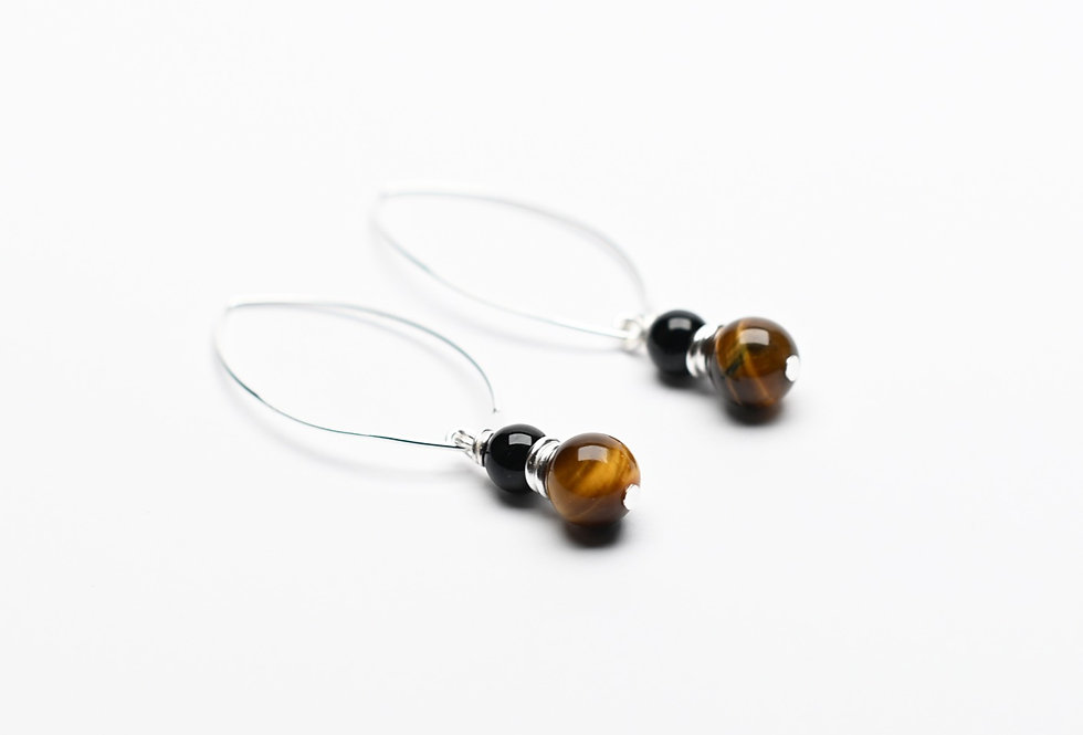 Tigereye & Black Onyx Silver Hanging Earrings