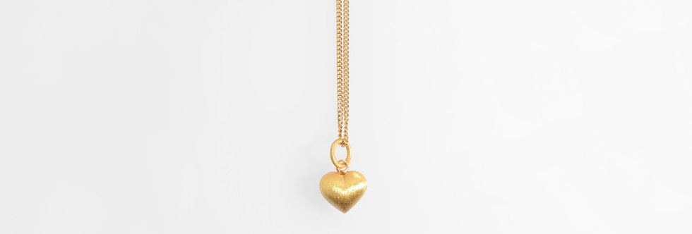 Brushed Gold Plated Sweet Heart Pendant on Chain