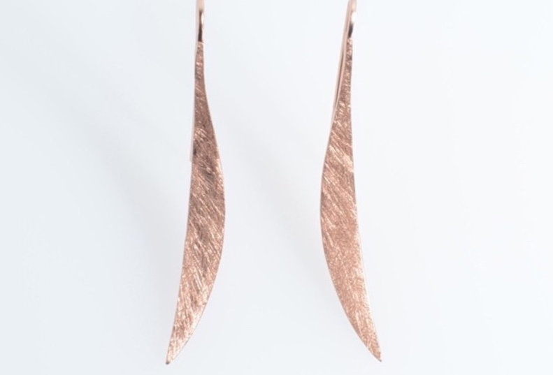 Rose Gold Brushed Curve Earrings