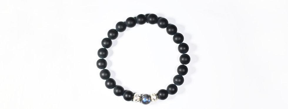 Matt Onyx and Labradorite Silver Bracelet