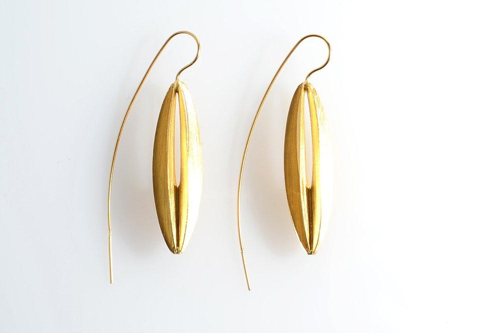 Gold Hanging Lantern Earrings