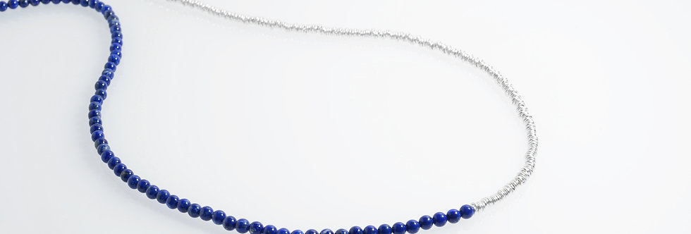 Lapis Lazuli (4mm) & Silver Two-Tone Medium Long Necklace 34""