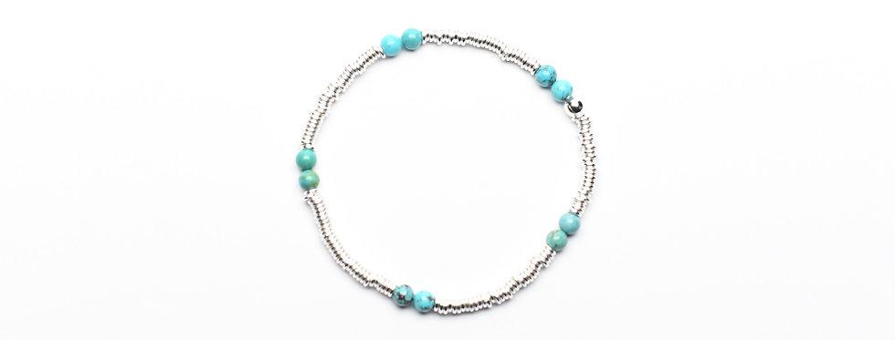 Turquoise Twins Silver Bracelet