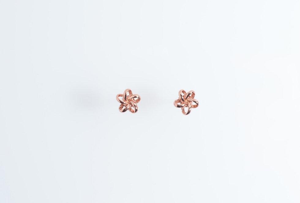 Rose Gold Dainty Wired Flower Earrings