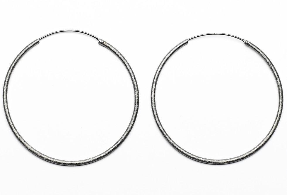 Black Rhodium Brushed Medium Hoops Earrings | 55mm
