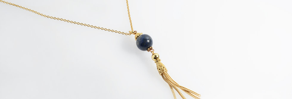 Lapis Lazuli Stone Gold Plated Tassels Pendant on Chain