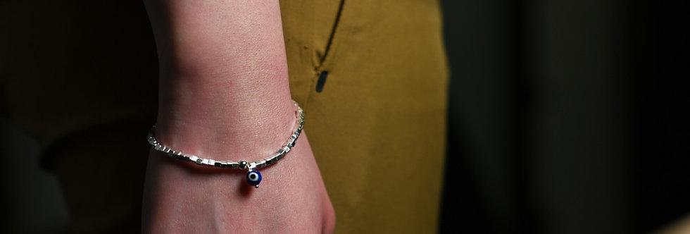 Silver Cubes Blue Evil Eye Charm Bracelet