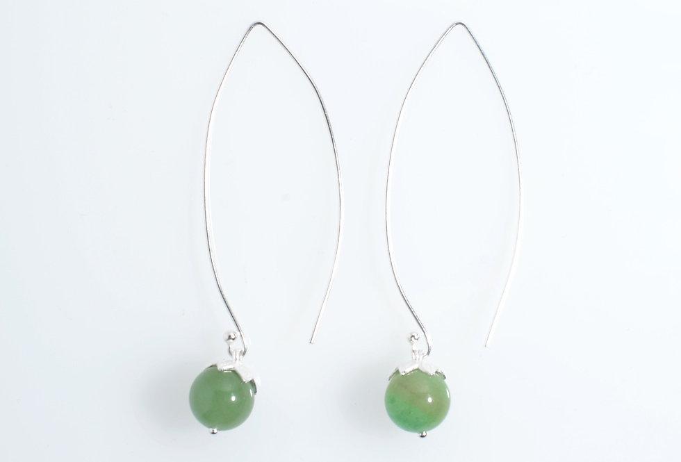 Silver Long Hook Hanging Green Agate Earrings