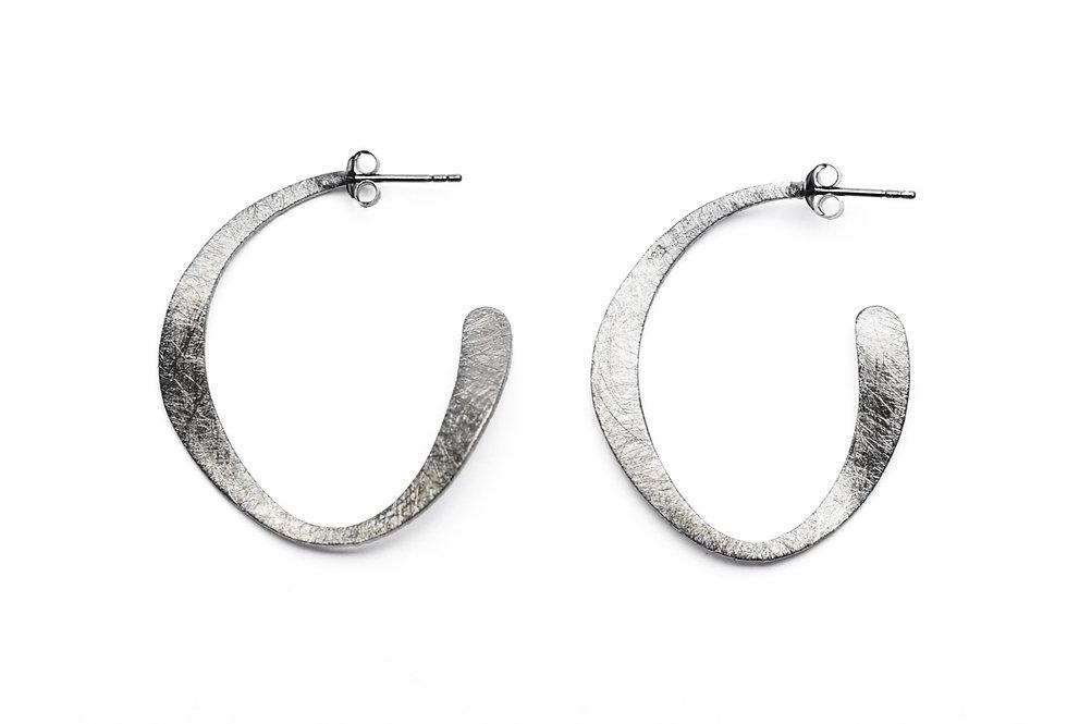 """Black Rhodium Modern """"C"""" Hoop Earrings"""
